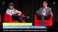 Pete Cooper interviewing Mike Cannon-Brookes Atlassian Cofounder on stage at SydStart